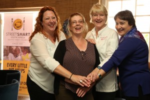 From left to right Georgie Prout (Glen Carlou), Tina Jewell (Bread & Wine), Margot Janse (Le Quartier Français ), Reinette Retief (StreetSmart SA)