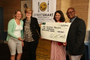 From left to right Kathryn Nurse (Kusasa Project), Jacquie Spiers (Kusasa Project), Melanie Burke (StreetSmart SA Chairman), Sintu Quza (Kusasa Project)
