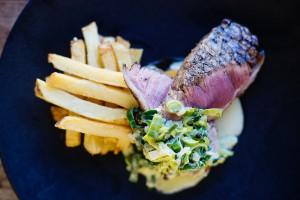 200g Sirloin steak, hand cut chips, roast butternut, creamed leek HR 1