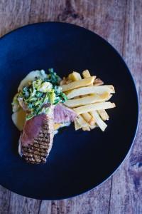 200g Sirloin steak, hand cut chips, roast butternut, creamed leek HR 2