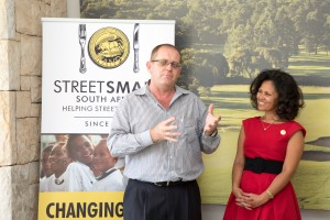 Brian Bridle (GM, Moyo Zoo Lake) with Melanie Burke (Chairman, StreetSmart SA) hr