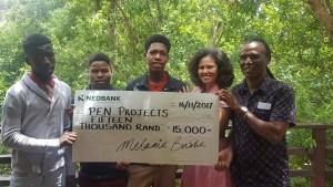 PEN beneficiaries Clement Kgafane, Boys and Melanie Burke (StreetSmart SA, Chairman) hr