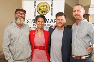 l.t.r. Chef Chris Erasmus (Foliage), Melanie Burke (StreetSmart Chairman); Chef Darren Badenhorst and Jasper Venter (Le coin Français)