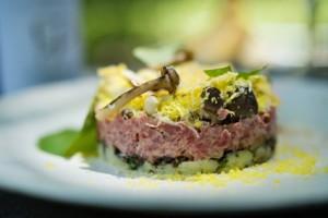 Beef tartare, variations of mushroom, Huguenot cheese, cured egg yolk low res