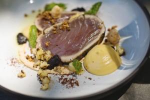 Charred yellowfin tuna, miso, labneh, black garlic, dukkah, cauliflower low res