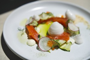 Gin cured Franschhoek trout, sweet and sour cucumber, dill creme, grapefruit low res