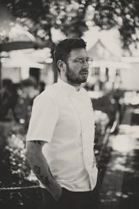 Grande Provence Exec Chef Guy Bennett in garden BW LR