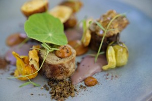 Karoo lamb - neck, sweetbread, heirloom tomato, olive, pan jus, aubergine low res