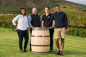 Left to right Gynore Fredericks, Andre Kotze (MD of Cape Cooperage Group), Elouise Kotze, Morgan Steyn LR