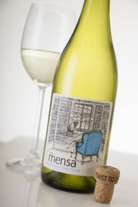 Mensa Chardonnay Pinot Noir styled close up at an angle with cork LR